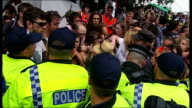 Caroline Lucas MP arrested ENGLAND West Sussex Balcombe EXT General views of protesters and police officers / scuffling / protesters carried along by...