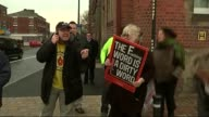 Antifracking protests in Preston ENGLAND Lancashire Preston EXT Various of antifracking protesters outside offices of Lancashire County Council /...