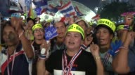Antigovernment protesters cheer political leader Suthep Thueaksuban as he speaks during a rally on stage in Bangkok He is a Thai politician and...