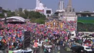 Antigovernment protesters rally at Victory Monument in Bangkok when protesters blocked many intersections stopping traffic to hold rallies The...