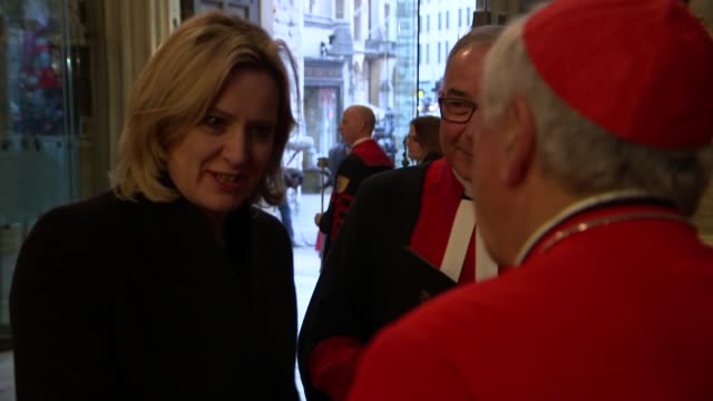service at Westminster Abbey ENGLAND London Westminster Abbey INT PHOTOGRAPHY*** Justin Welby waiting with others to greet arrivals / Amber Rudd MP...