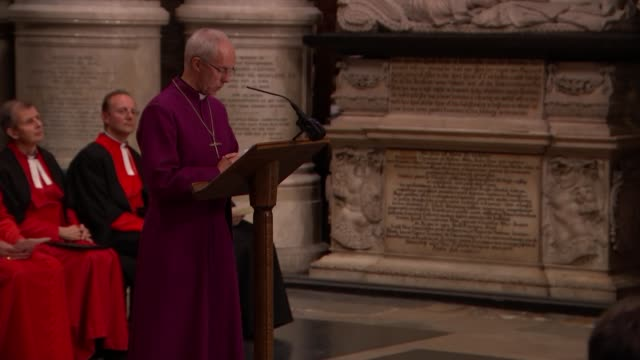 service at Westminster Abbey Justin Welby speech SOT William Wilberforce tombstone