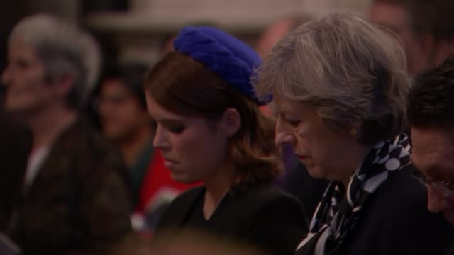 service at Westminster Abbey Service in progress / Theresa May in audience seated next to Princess Eugenie / Amber Rudd in audience / Service in...