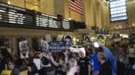 AntiTrump protest The demonstrators rallied inside Grand Central Station's 'Grand Hall' and marched along 42nd and 5 avenue and ended the march in...