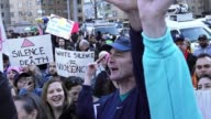 AntiTrump protesters gathered in the Columbus Circle 59th Street vicinity near the Upper West Side Trump International Hotel Tower Manhattan New York...