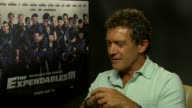 INTERVIEW Antonio Banderas on filming for the 'SpongeBob SquarePants' film at 'The Expendables 3' Interviews at Corinthia Hotel London on August 04...