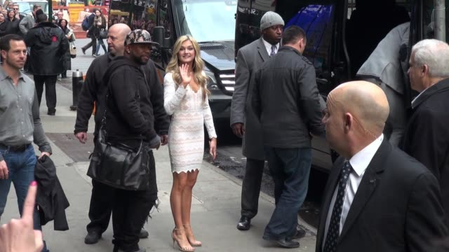 Antonio Brown Sharna Burgess Wanya Morris and Lindsay Arnold leaving the 'Good Morning America' show in New York City in Celebrity Sightings in New...