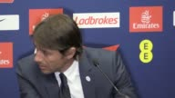 Antonio Conte speaks to the press following a 21 loss against Arsenal in the FA Cup