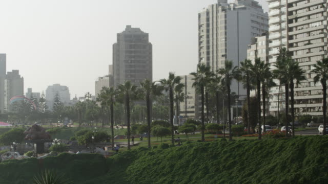 Apartment blocks overlooking the Pacific coastline in the Miraflores District of Lima, Peru.