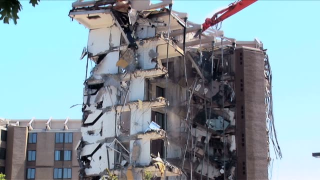 Apartment building demolition