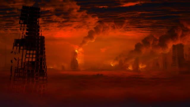 Apocalyptic landscape. Camera slowly moves forward.