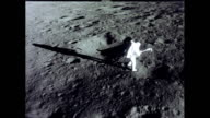 / Apollo 12 astronaut working outside landing craft Apollo 12 astronaut on moon surface on November 19 1969 in In Space