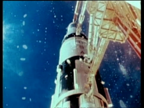 WA Apollo Saturn 7 ignition, CU low angle view of rocket launch, Cape Kennedy, Florida, USA