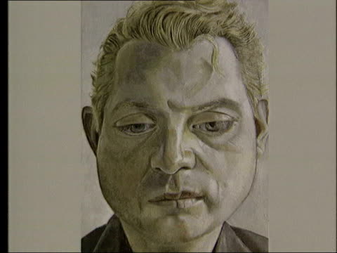 Appeal for return of stolen painting ITN London Print of Lucien Freud portrait of Francis Bacon framed in 'Wanted' poster PULL OUT CS Copy of picture...