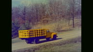 MS TS HA Apple loaded truck moving on road / United States
