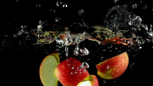 SLOW MOTION: Apple splashing into Water