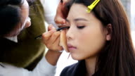 CU Applying Makeup to a Beautiful Girl / Shanghai, China