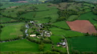approach to skenfrith castle - Aerial View - Wales,  Monmouthshire,  United Kingdom