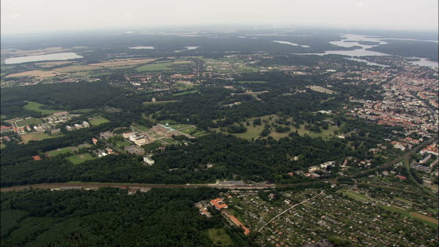 Approaching Sanssouci Royal Park  - Aerial View - Brandenburg,  Germany