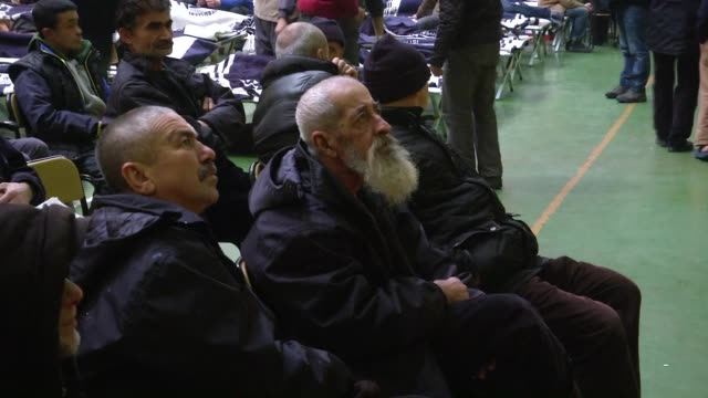 Approximately 900 homeless people are placed in Zeytinburnu sports facility by the Istanbul Municipality to protect them from the cold weather on...