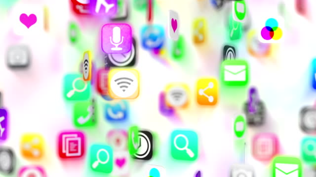 Apps icons background. White version. Loop.