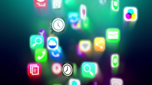 Apps icons flow. Dark version. Loop.