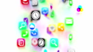Apps icons flow. White version. Loop.