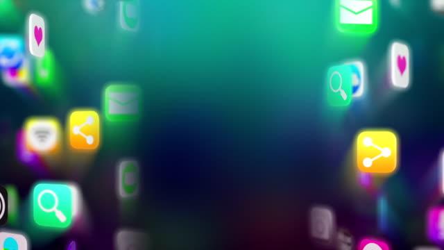 Apps icons flow with copyspace. Dark version. Loop.