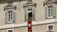 April 24 2006 WS Pope Benedict XVI performing weekly service from a window in St Peter's Square / Vatican City Rome Italy