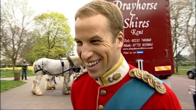April Fool's Day Alison Jackson spoof Royal Wedding general views Prince William lookalike crossing road as Kate lookalike has hair styled seated in...
