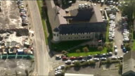 Aerials of Aberystwyth and Machynlleth Aberystwyth of Aberystwyth police station and flags flying at half mast