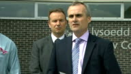 Statements outside Court from April's Mother / Lawyer WALES Flintshire Mold Law Courts EXT Group out of court and up to press / Det Supt Andy John...