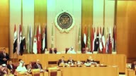 Arab foreign ministers attend an emergency meeting of Arab League foreign ministers on Iran at the Arab League headquarters in Cairo Egypt on January...