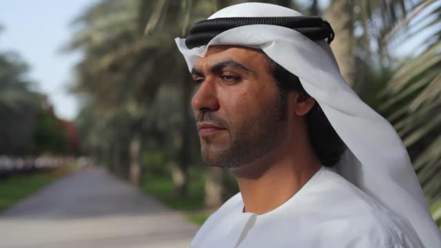 CU Arab man in traditional dish dash / Dubai, United Arab Emirates