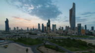 Arabian Peninsula, Kuwait, Kuwait City, Elevated day to night transition over the city centre