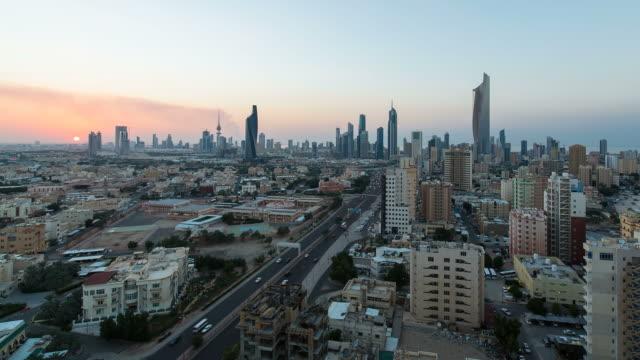 Arabian Peninsula, Kuwait, Kuwait City, Elevated day to night transition over the city centre