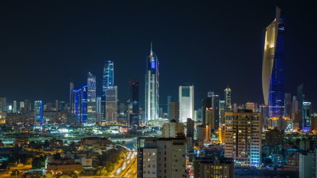 Arabian Peninsula, Kuwait, Kuwait City, time lapse of the modern city centre architecture