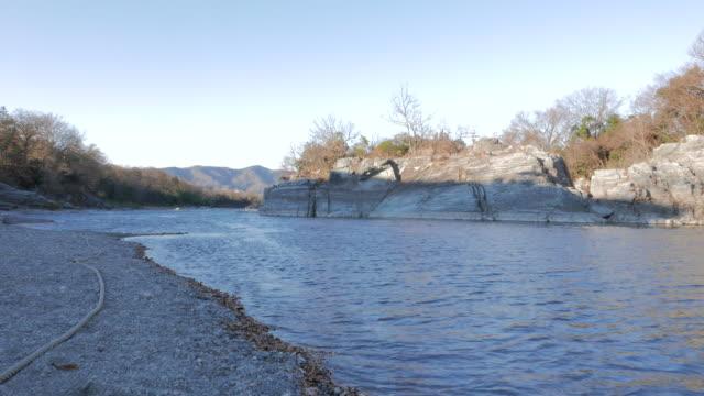 Arakawa river with strange rock, Nagatoro, Japan