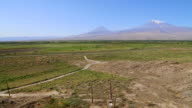 Ararat mountain, view of mount Ararat, and the border between Armenia and Turkey
