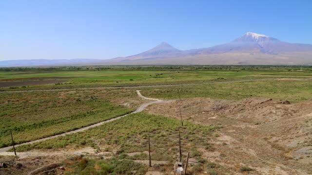 Ararat mountain, view of mount Ararat, and the border between Armenia and Turkey