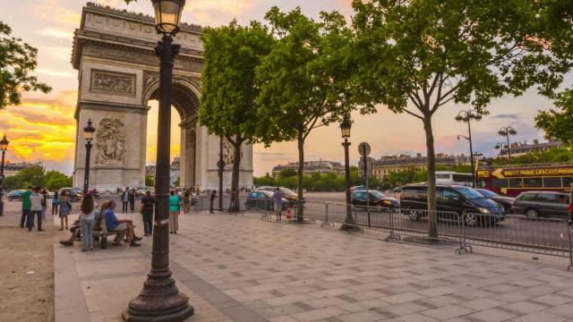 Arc de Triomphe and Avenue des Champs Elysees in Paris.