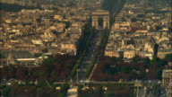 AERIAL Arc de Triomphe and traffic/ Paris, France