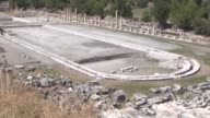 Archaeologist Prof Roland RR Smith speaks regarding excavation of giant city pool at Aphrodisias ancient city in the western province of Aydin's...