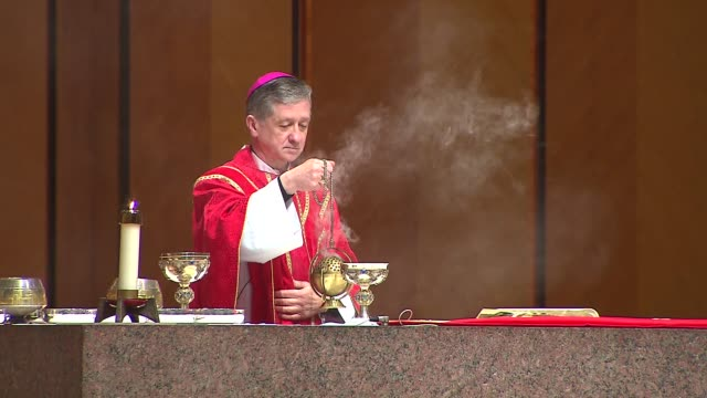 Archbishop Blase Cupich lead his first Chicago Palm Sunday Mass on March 29 2015 in Chicago Illinois