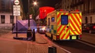 Man charged Archie Sheppard murder Man charged T28041739 / TX ENGLAND London Marylebone Blue forensic tent on pavement near double decker bus and...