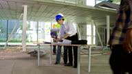 HD CRANE: Architect And Construction Foreman Examining Blueprints