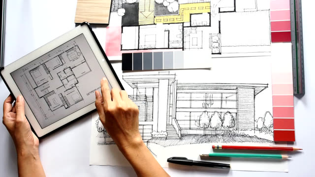 Architect interior designer working stock footage video for An interior designer