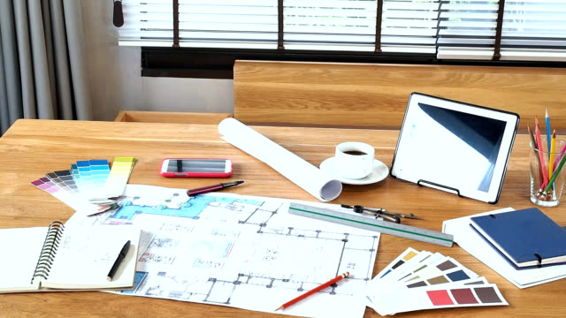architect interior designers working table stock footage