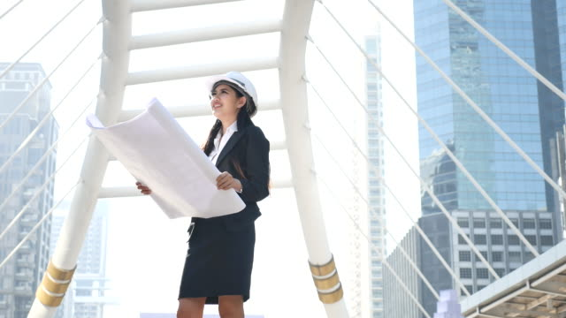 Architect woman working outdoor