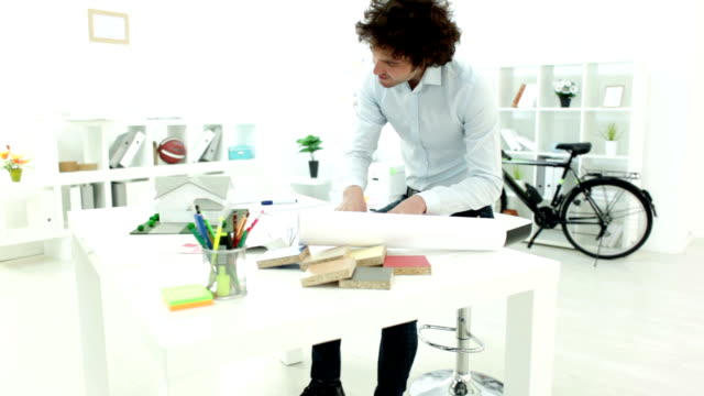 HD: Architect Working At His Office.